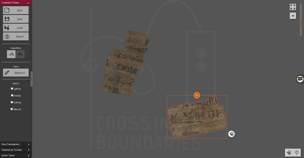 The screenshot shows the interface of the Virtual Light Table. On the left, there is a toolbar/sidebar where you can load, save and export the table. In the center, there is the table itself showing two currently loaded papyrus fragments. One of the fragments is selected. More interface elements are in the top right (zoom), on the right side (annotations) and on the bottom right (toggle light, turn the table).