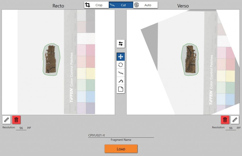 This image shows the Local Upload Window of the Virtual Light Table. There are two canvases for the front and the back of the object. With a cutting tool, the user has inserted a polygonal area which indicates the area of interest in the uploaded image. Here, it is a papyrus in a larger picture with grey background and a color scale.